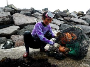 A haenyeo removes an octopus from a fishing basket near Pyoseon village on Jeju. / Young Jin Kim